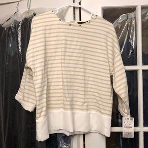 Zara Stripe Sweatshirt with Bling Detail